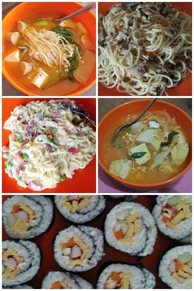 resep sushi, tomyam, spagetti